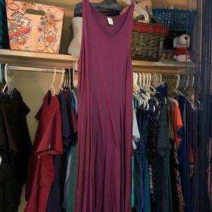 Long plum dress.